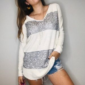 Free people sequin striped v neck sweater